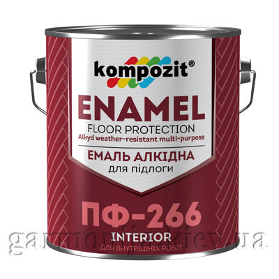 Эмаль для пола ПФ-266 Kompozit, 0.9 кг, Красно-коричневый, глянцевая