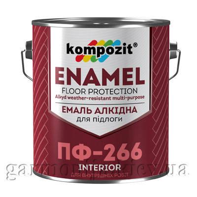 Эмаль для пола ПФ-266 Kompozit, 0.9 кг, Красно-коричневый, глянцевая, фото 2