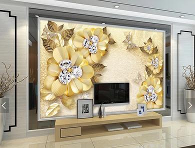 """3D фотообои """"Золотые цветы"""""""