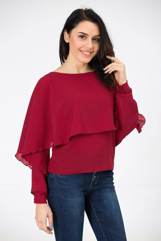 Бордовая блуза ASHLEY с пелериной и фантазийным рукавом