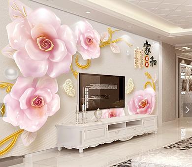 """3D фотообои """"Нежно-розовые розы"""""""