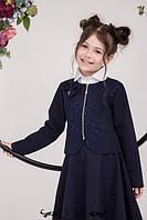 Красивое болеро-жакет для девочки синего цвпета с кружевом, размеры 128-146