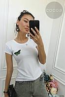 Футболка женская Бабочка, вискоза, черный, белый, серый, 42-46