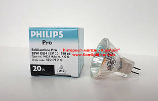 Лампа галогенная PHILIPS Brilliant 20W 12V 35mm 30D MR11 GU4 (Польша)