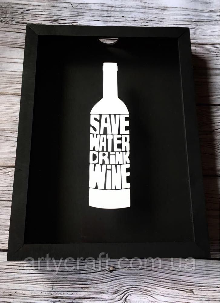 Копилка для винных пробок Drink Wine 36x27х5 см Черная