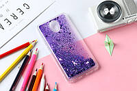 Чехол Glitter для Meizu M6S бампер Жидкий блеск фиолетовый