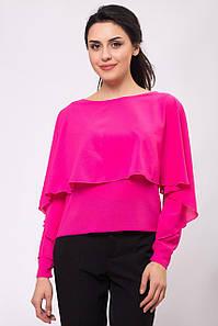 Блуза ASHLEY с пелериной и фантазийным рукавом цвета фукции