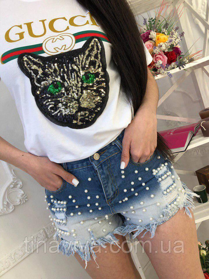 17c38c152f9b Женская футболка Gucci (гуччи) (гучи) с кошкой - интернет магазин одежды