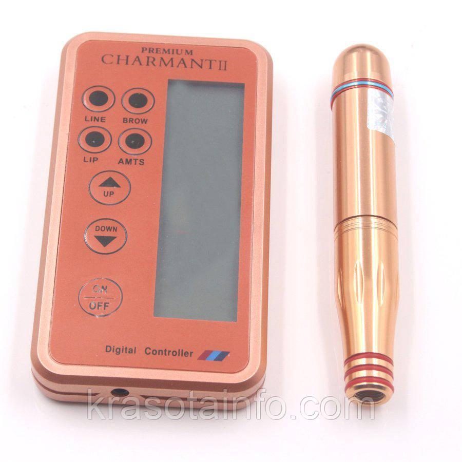 Машинка для татуажу, перманентного макіяжу Premium Charmant + 2 катриджа в подарунок. Дермоштамп