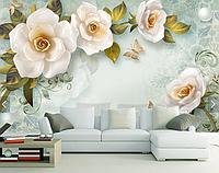 """3D фотообои """"Белые розы"""""""