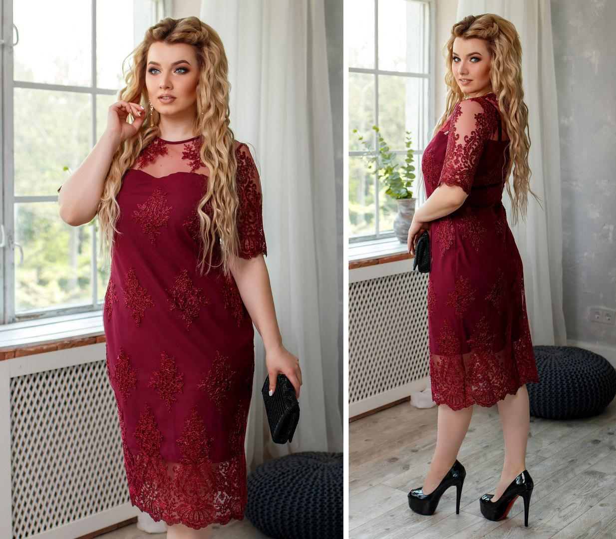6d50dba0529941c Платье Мод 353 Ткань : софт+набивной гипюр Размеры : 48-50,52-54,56 ...