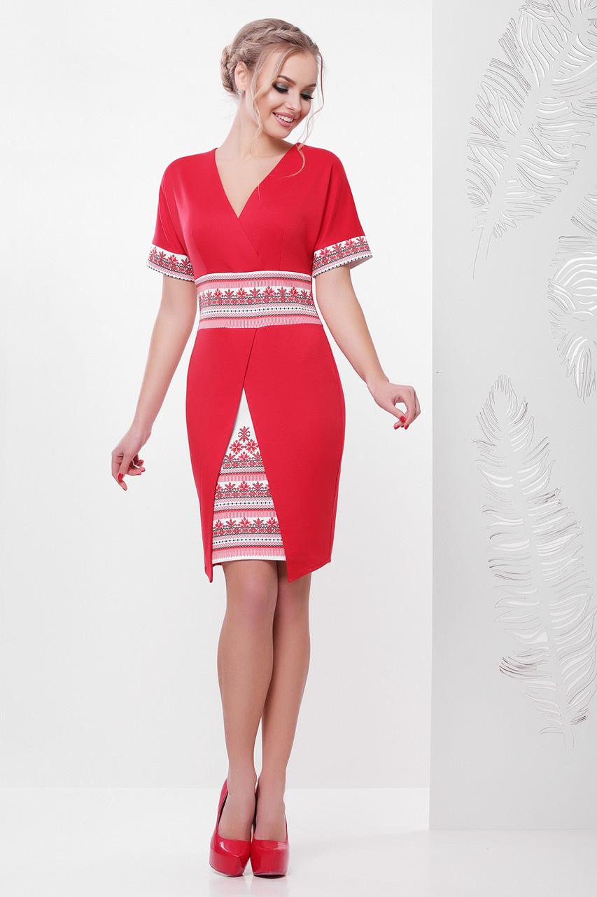 ffcab0f1cf37cee Облегающее платье на запах с украинским орнаментом, цена 390 грн., купить в  Киеве — Prom.ua (ID#730480257)