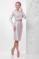 Женский костюм с узкой юбкой и короткой кофточкой с принтом Lines