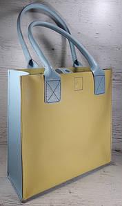 273-к  Натуральная кожа, Сумка-пакет с мешком на молнии, желный лимонный голубой