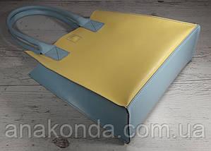 273-к  Натуральная кожа, Сумка-пакет с мешком на молнии, желный лимонный голубой, фото 3
