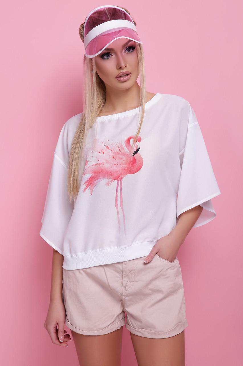 2124c4d6618 Купить Белая блуза свободного кроя с широким рукавом и принтом ...