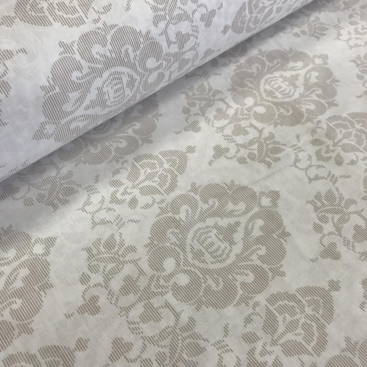 Хлопковая ткань (ТУРЦИЯ шир. 2,4 м) орнамент бежевый с полосками №32-12