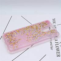 Чехол Glitter для Meizu M6 Note Бампер Жидкий блеск звезды розовый