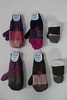 Акриловые утепленные варежки для девочек - 14 см