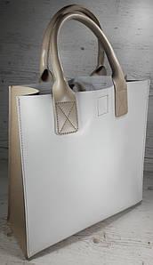 274-к Натуральная кожа, белая Сумка-пакет с мешком на молнии, бежевый экрю бежевая Сумка-шоппер кожаная