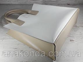 274-к Натуральная кожа, белая Сумка-пакет с мешком на молнии, бежевый экрю бежевая Сумка-шоппер кожаная , фото 3
