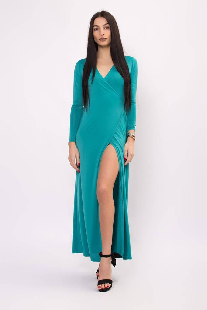 Бирюзовое платье-халат SHARON на запах макси