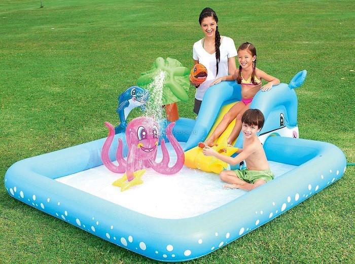 Надувной детский игровой центр-бассейн BestWay53052 Аквариум с горкой и игрушками
