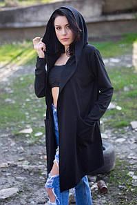 Чёрная мантия ADENA из трикотажа с карманами и капюшоном