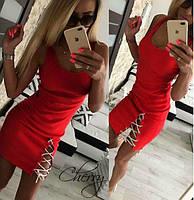 Женское летнее мини платье с разрезом и шнурком, 42-44, вискоза, черный, красный, серый
