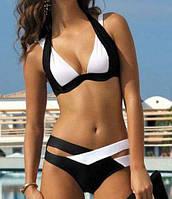 Модный раздельный женский купальник, черно-белый