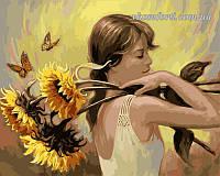 Раскраска по номерам Девушка с подсолнухами худ. Берк, Бренда (VP203) 40 х 50 см, фото 1