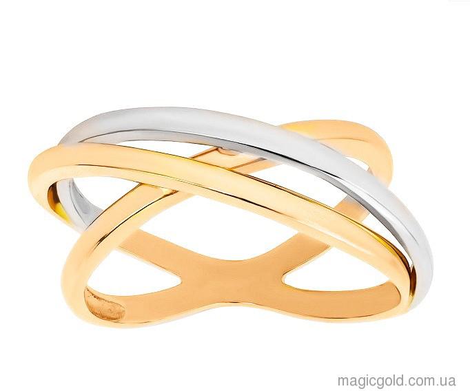 Золотое кольцо комбинированное золото Паола