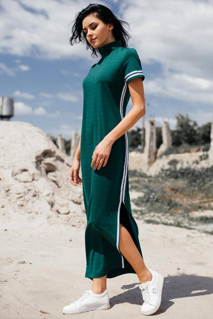 Зелёное хлопковое платье ALEXIS в стиле спорт-шик с разрезами и воротником стойкой