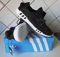 Кроссовки мужские Adidas Yeezy Boost. Кроссовки летние в стиле Адидас EQT. Реплика Серо - черные