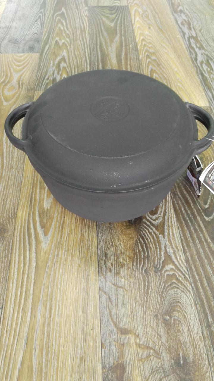 Кастрюля чугун 4 л (с крышкой-сковородой)