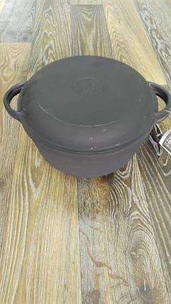 Кастрюля чугун 4 л (с крышкой-сковородой), фото 2