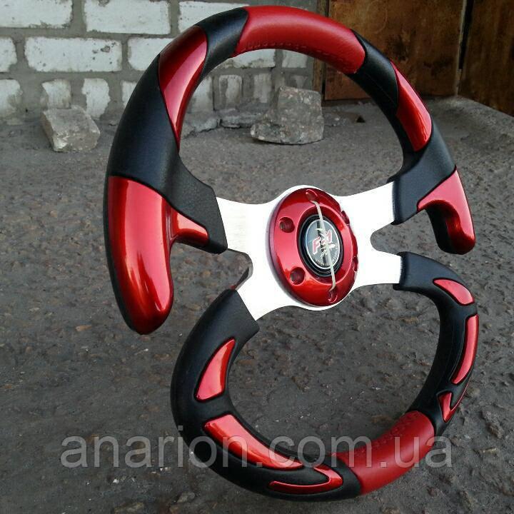Руль спортивный автомобильный №605 (красный).