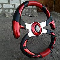 Руль спортивный автомобильный №605 (красный)., фото 1