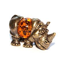 Фигурка Носорог для декора из бронзы и янтаря