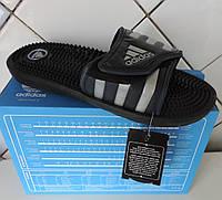 Шлепанцы Adidas Santiossage, сланцы массажные мужские Адидас, реплика Серебристый, фото 1