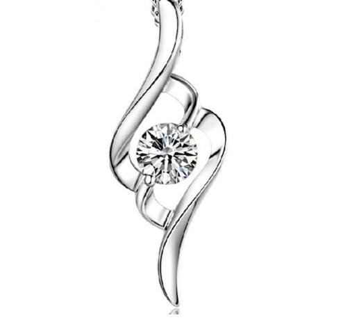 Серебряный кулон с белым камнем Мелодия стерлинговое серебро 925 пробы