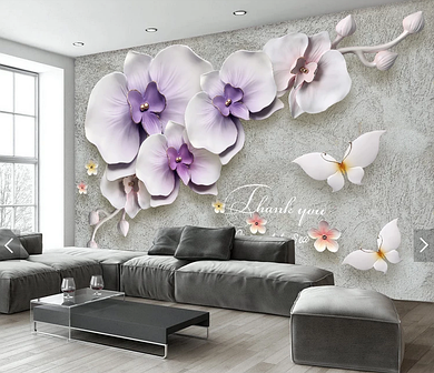 """3D фотообои """"Лиловые орхидеи"""""""
