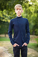 Подростковая школьная рубашка  с асимметричными пуговицами на мальчика р. 134-152 темно-синяя, фото 1
