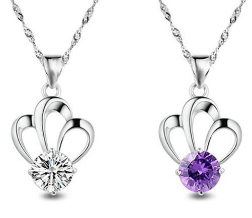 Серебряный кулон  Корона с фиолетовым и белым камнем стерлинговое серебро 925 пробы