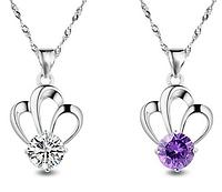 Серебряный кулон  Корона с фиолетовым и белым камнем стерлинговое серебро 925 пробы, фото 1