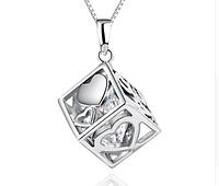 Серебряный кулон Куб стерлинговое серебро 925 пробы ( код 1034)
