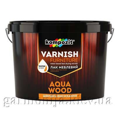 Лак мебельный AQUA WOOD Kompozit шелковисто-матовый, 10 л, фото 2