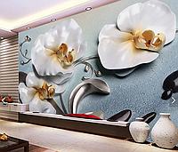 """3D фотообои """"Блестящие орхидеи"""""""