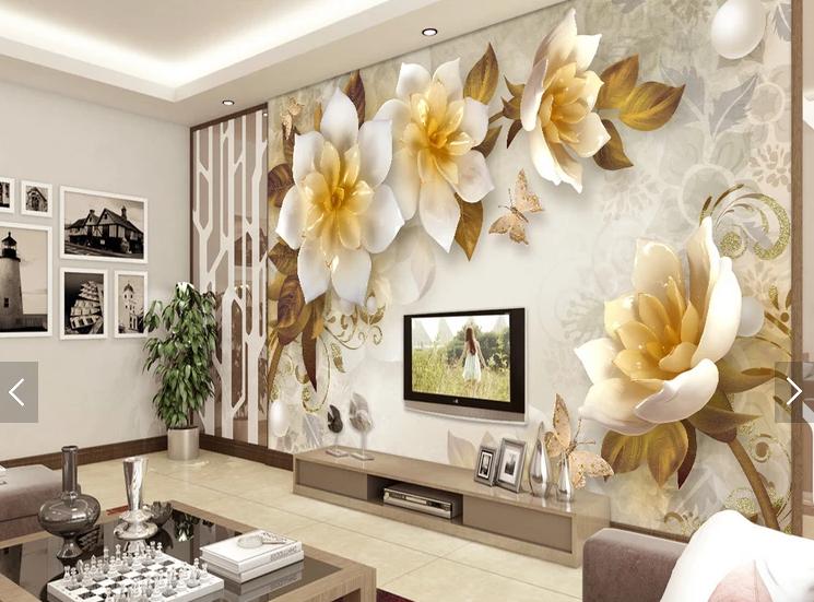 """3D фотообои """"Цветы золота"""", цена 195 грн./кв.м, купить в Чернигове ..."""