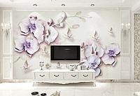 """3D фотообои """"Нежно-лиловые орхидеи"""""""